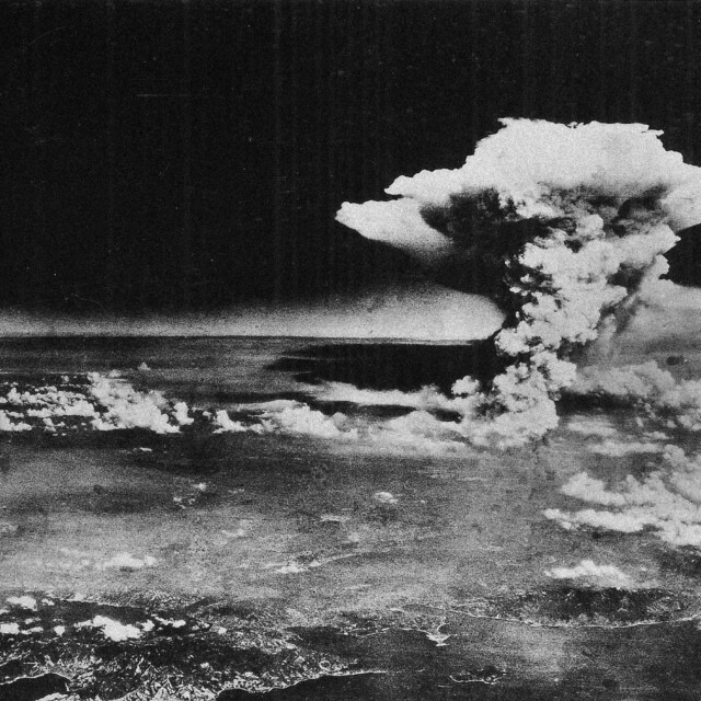 Aerial view of the bombing of Hiroshima on August 6, 1945.